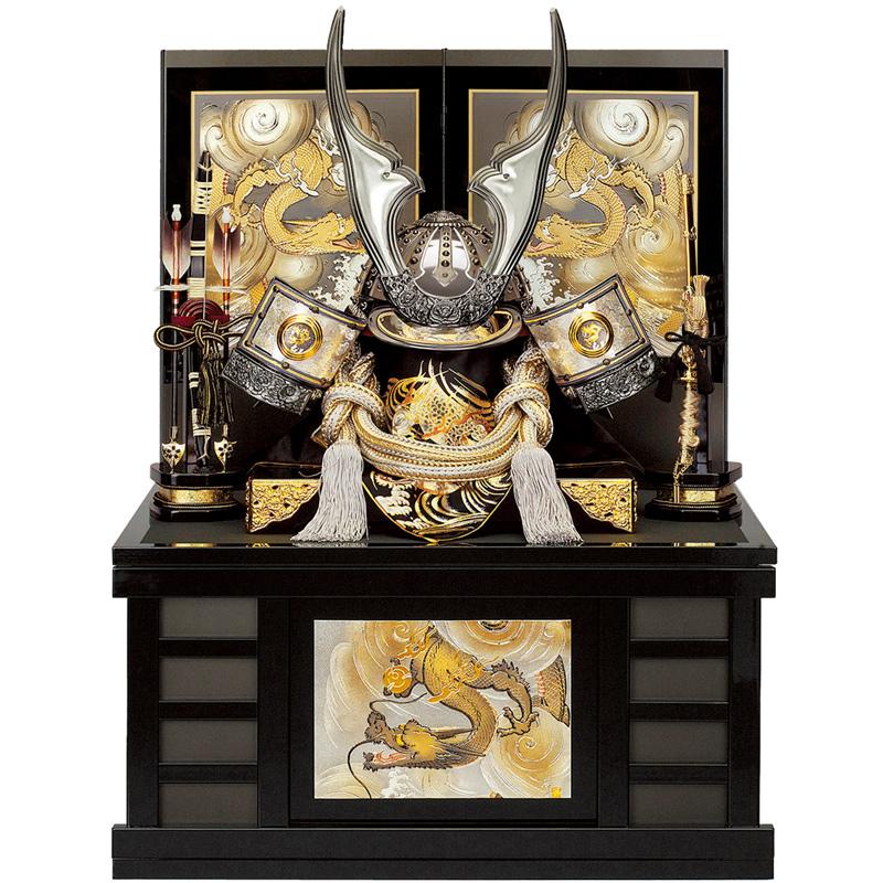 五月人形 着用収納兜飾り リアル銀昇龍 25号(マグネット式)収納 端午の節句 皇宸作 B-049