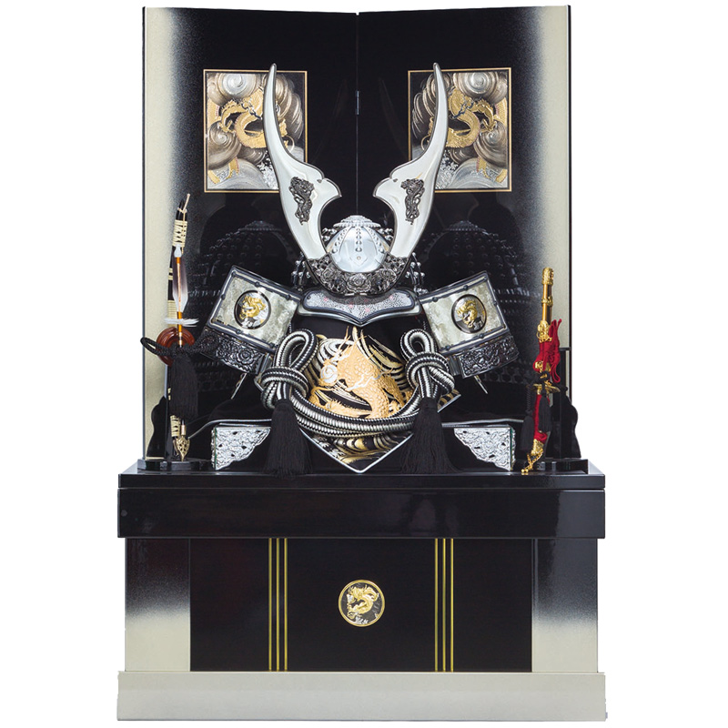 五月人形 着用収納兜飾り 龍神 25号(上フタ式)収納 端午の節句 皇宸作 B-032