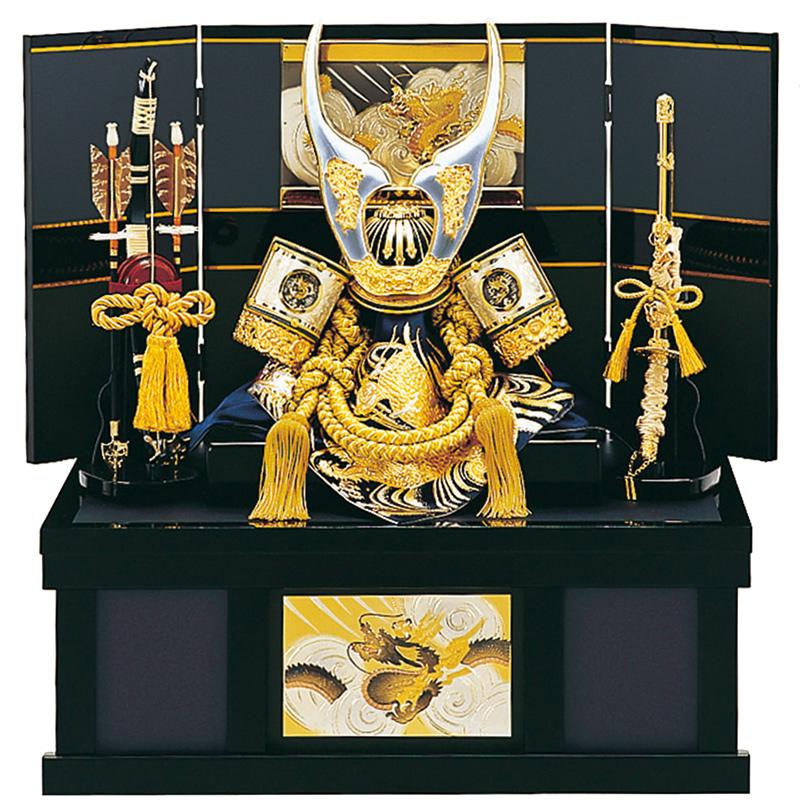 五月人形 収納兜台飾り 白銀龍 8号 収納 端午の節句 皇宸作 A-012