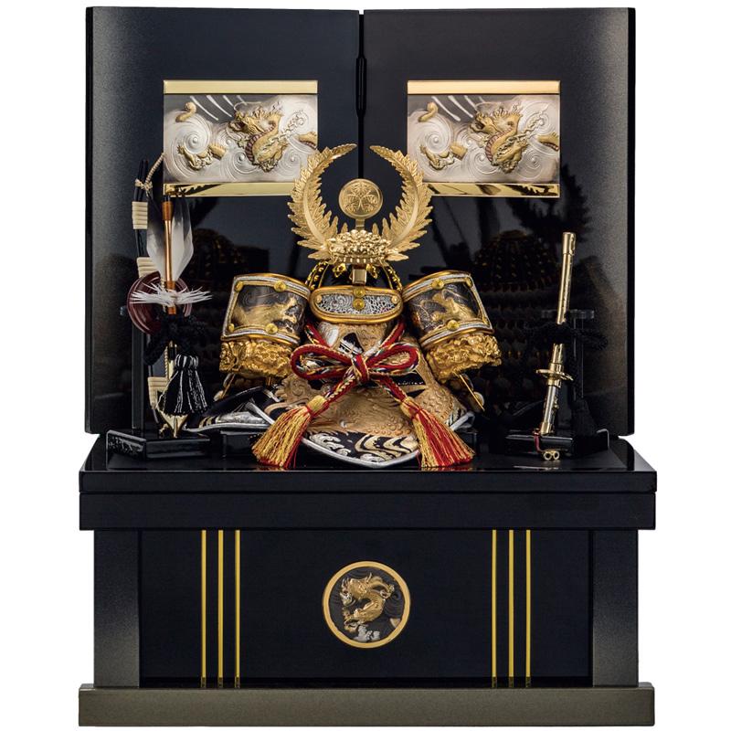 【3/5-5/30期間限定10%OFFクーポン配布】五月人形 収納兜台飾り 白銀之家康 6号 収納 端午の節句 皇宸作 A-085※5/8以降入荷、発送になります。ご注意下さい。