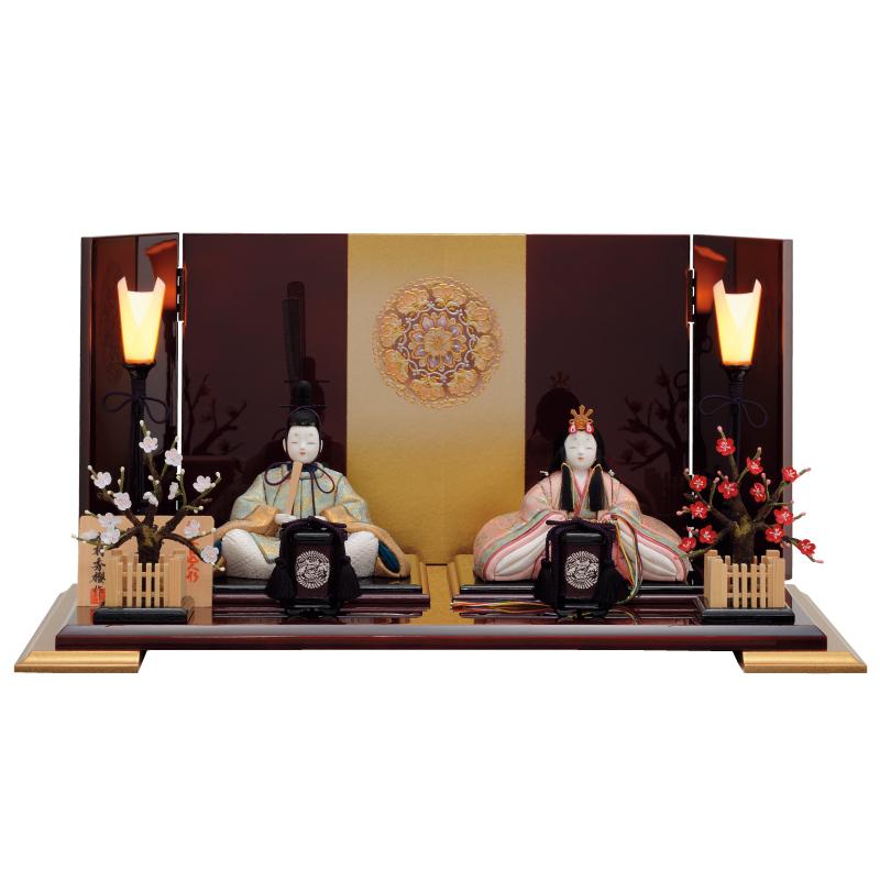 雛人形 一秀 コンパクト 木目込み 親王飾り A-107 おしゃれ かわいい 同時購入にて木札1円対象商品