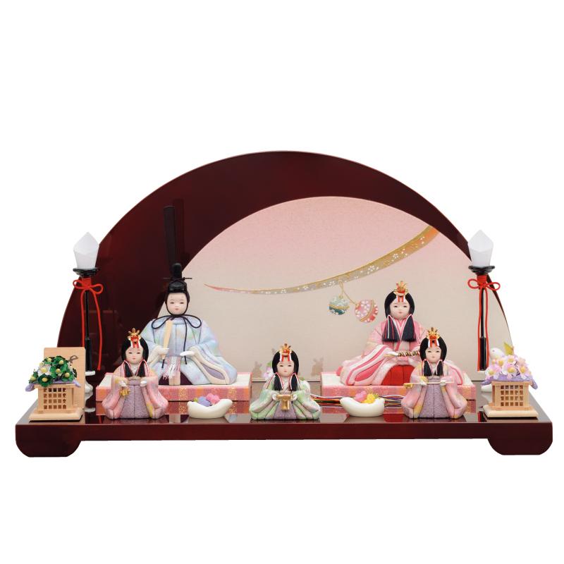 雛人形 一秀 コンパクト 木目込み 五人飾り C-114 おしゃれ かわいい 同時購入にて木札1円対象商品