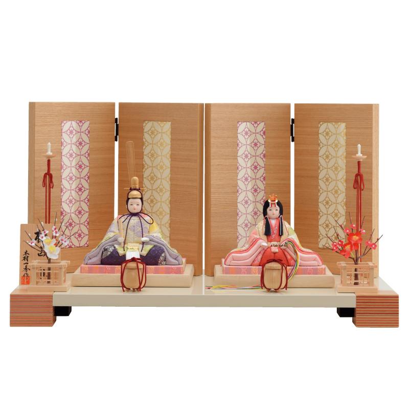 雛人形 一秀 コンパクト 木目込み 親王飾り H-31 おしゃれ かわいい 同時購入にて木札1円対象商品