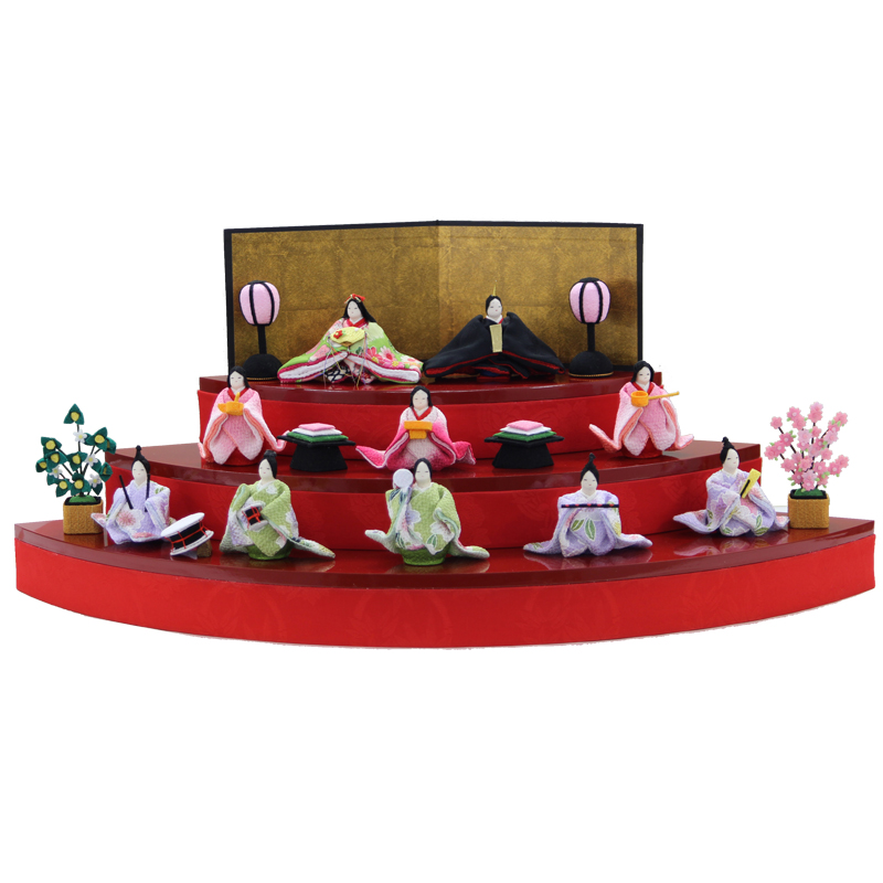 扇面三段和み雛 1-625 リュウコドウ 龍虎堂【5万円以下ひな人形】【ミニチュア雛人形】