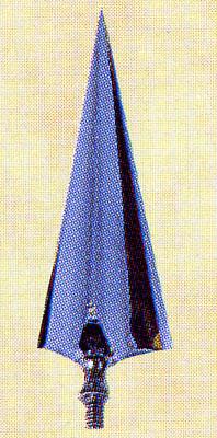 旗パーツ 竿頭 三角槍 真鍮製 16cm