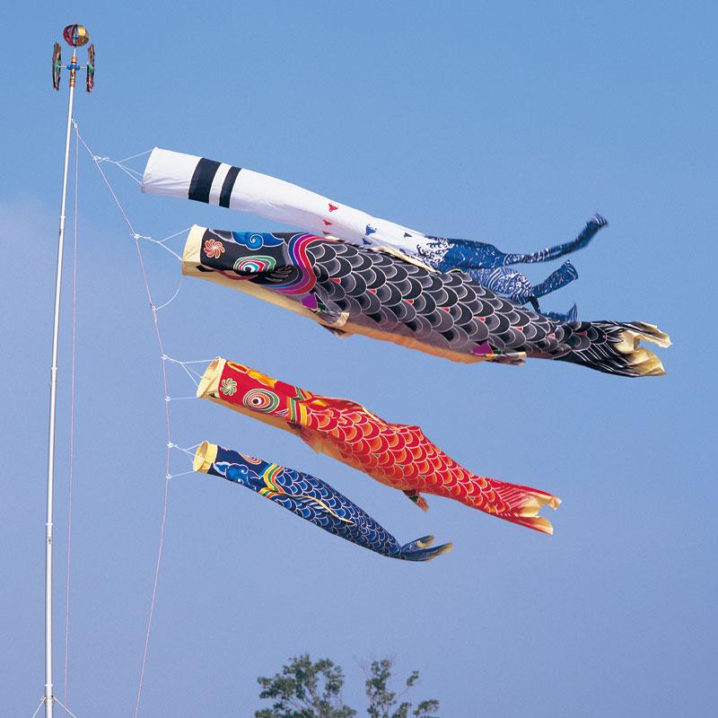 【天 手描き本染め鯉】【2.7m】【1間半】【6点 鯉3匹】浪千鳥吹き流し錦鯉 鯉のぼり 大型セット【2m】【3m】【送料無料】