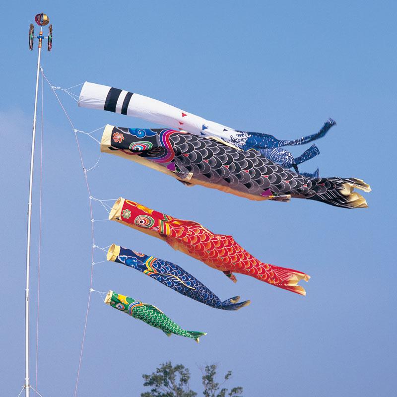 【天 手描き本染め鯉】【2.7m】【1間半】【7点 鯉4匹】浪千鳥吹き流し錦鯉 鯉のぼり 大型セット【2m】【3m】【送料無料】