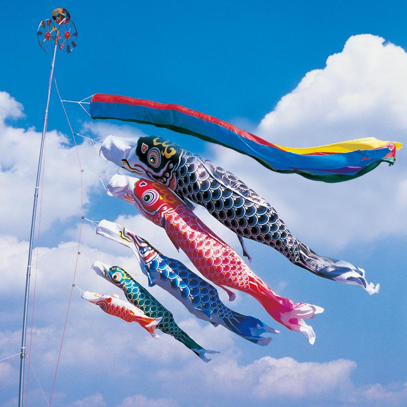 【羽衣錦鯉】【3m】【8点 鯉5匹 】五色吹流し錦鯉 鯉のぼり 大型セット