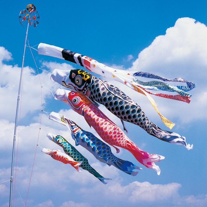 【羽衣錦鯉】【5m】【8点 鯉5匹 】浪千鳥吹流し錦鯉 鯉のぼり 大型セット【送料無料】