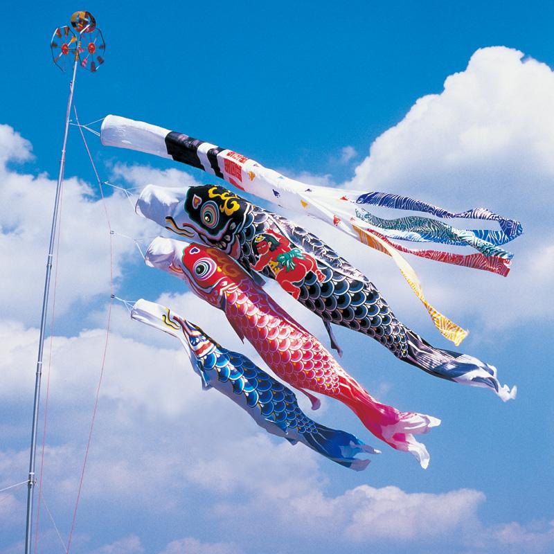 【羽衣錦鯉】【5m】【6点 鯉3匹 】金太郎付 浪千鳥吹流し錦鯉 鯉のぼり 大型セット【送料無料】