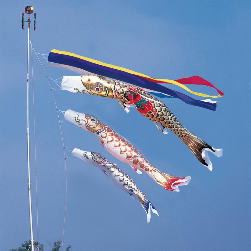 【黄金錦鯉】【6m】【6点 鯉3匹 】金太郎付 五色吹き流し錦鯉 鯉のぼり 大型セット【送料無料】