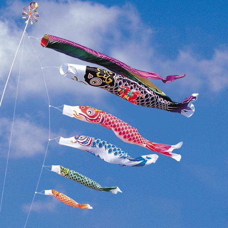 【綾錦鯉】【5m】【8点 鯉5匹 】金太郎付 五色吹き流し錦鯉 鯉のぼり 大型セット