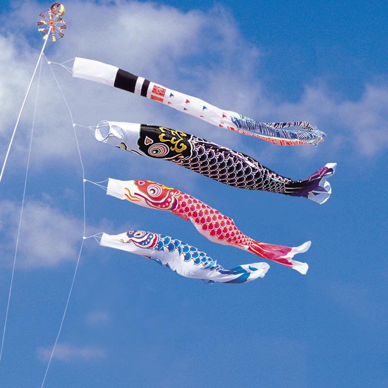 【綾錦鯉】【6m】【6点 鯉3匹 】浪千鳥吹き流し錦鯉 鯉のぼり 大型セット【送料無料】