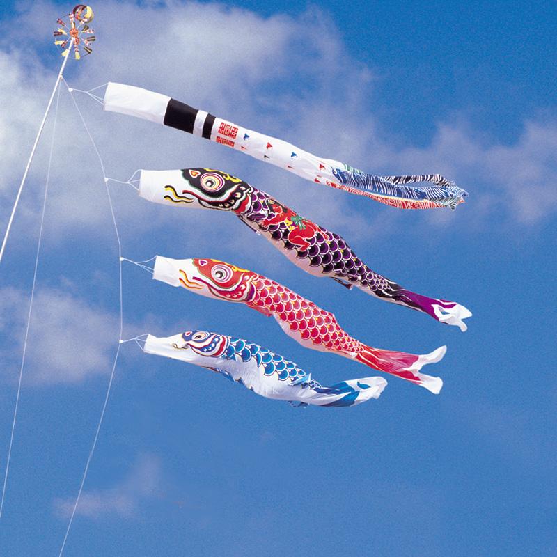 【綾錦鯉】【8m】【6点 鯉3匹 】金太郎付 浪千鳥吹き流し錦鯉 鯉のぼり 大型セット【送料無料】