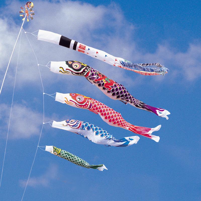 【綾錦鯉】【7m】【7点 鯉4匹 】金太郎付 浪千鳥吹き流し錦鯉 鯉のぼり 大型セット【送料無料】