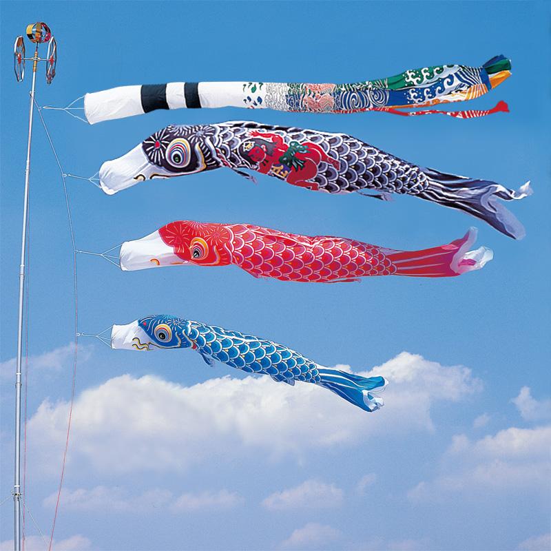 【かなめ鯉】【4m】【6点 鯉3匹 】金太郎付 飛龍吹き流し錦鯉 鯉のぼり 大型セット
