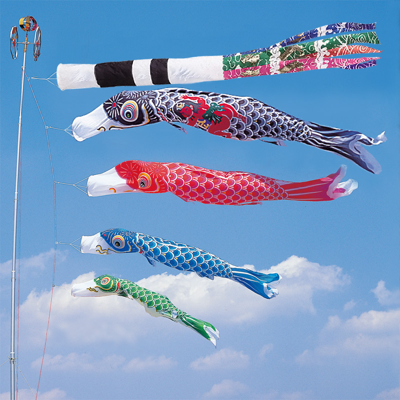 【かなめ鯉】【3m】【7点 鯉4匹 】金太郎付 スパン飛龍吹き流し錦鯉 鯉のぼり 大型セット【送料無料】