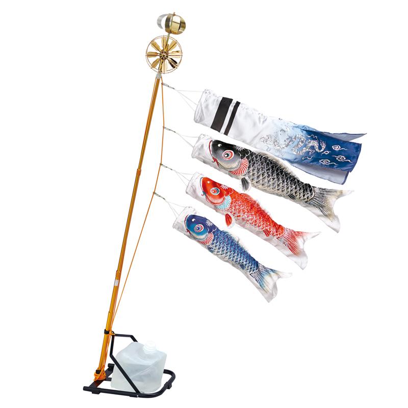 【10%OFFクーポン配布中】【銀鱗】【0.7m】【鯉3匹】スタンドセット コンパクトMサイズ 水袋タイプ 錦鯉 鯉のぼり ベランダ用スタンドセット
