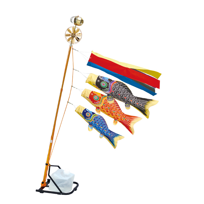 【天 手描き本染め鯉】【0.7m】【鯉3匹】スタンドセット コンパクトMサイズ 水袋タイプ 錦鯉 鯉のぼり ベランダ用スタンドセット【送料無料】