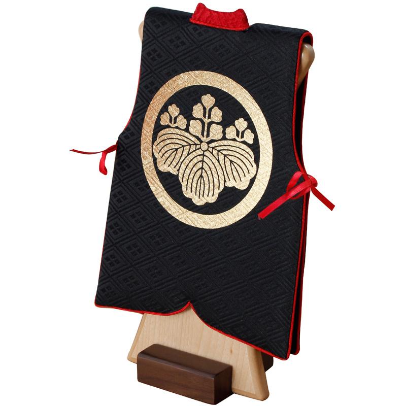 ミニ陣羽織高さ25cm 金プリント名入れまたは家紋入れ 木製スタンド付 初節句 子供の日