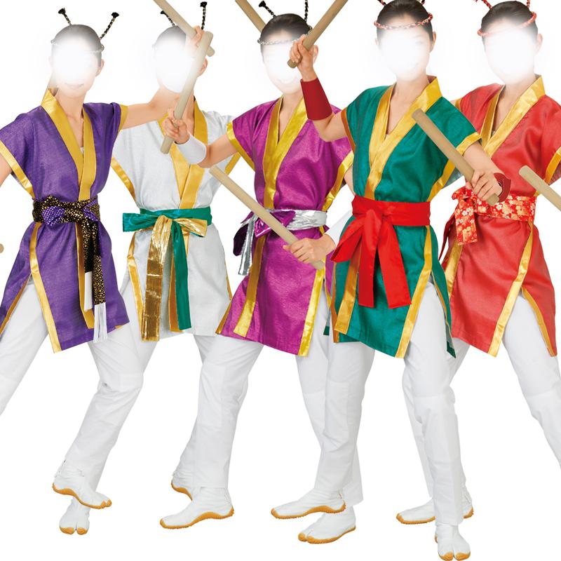 袖なし袢天 太鼓袢纏 赤・緑・赤紫・ 白・青紫【お祭用品/祭用品/お祭り/祭り小物/はっぴ/はんてん】