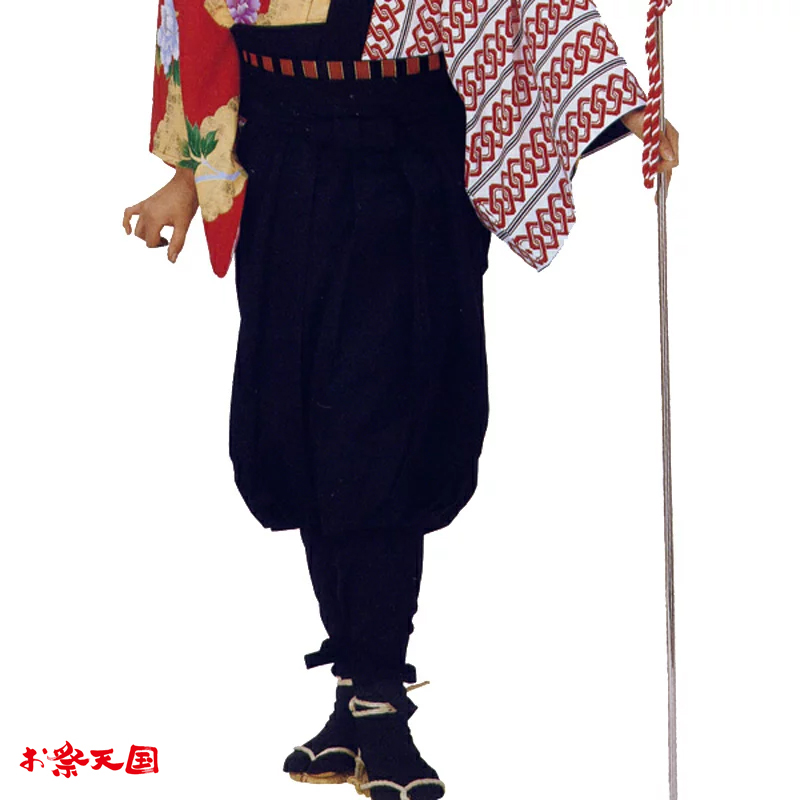 【お祭り用品】【手古舞衣装】たっつけ袴 黒 M・L C72501【お祭用品/祭用品/お祭り】