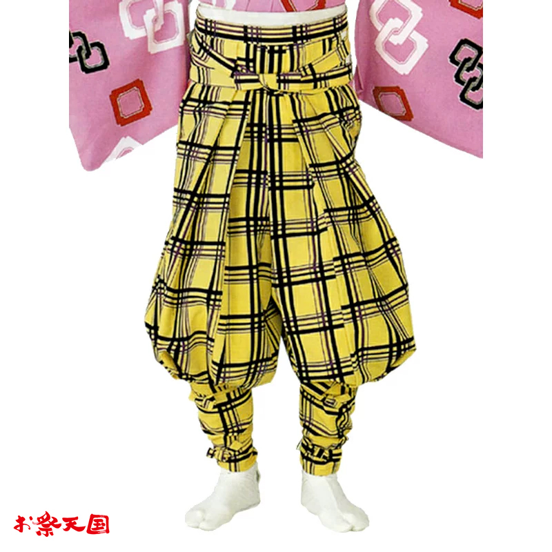 【お祭り用品】【手古舞衣装】たっつけ袴 黄 矢鱈格子 M・L C72503【お祭用品/祭用品/お祭り】