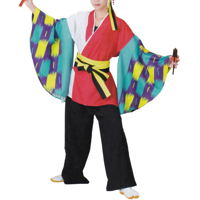 おどり袢天 白/赤 水色/紫袖 B470【よさこい/踊り衣裳/祭用品/お祭り/祭り小物】【はっぴ・はんてん・半被・袢纏】