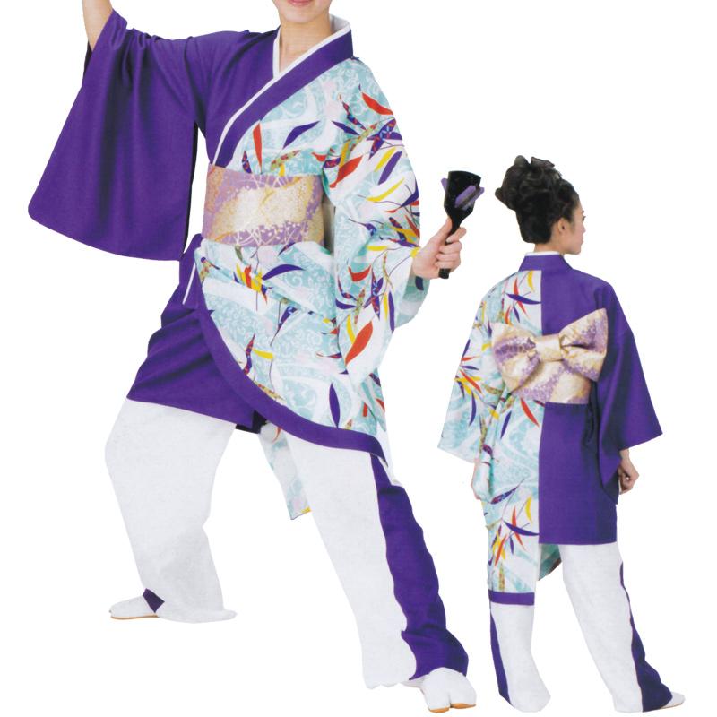 よさこい打合せ袢天 紫 C73109【よさこい/踊り衣裳/お祭用品/まつり用品/お祭り】