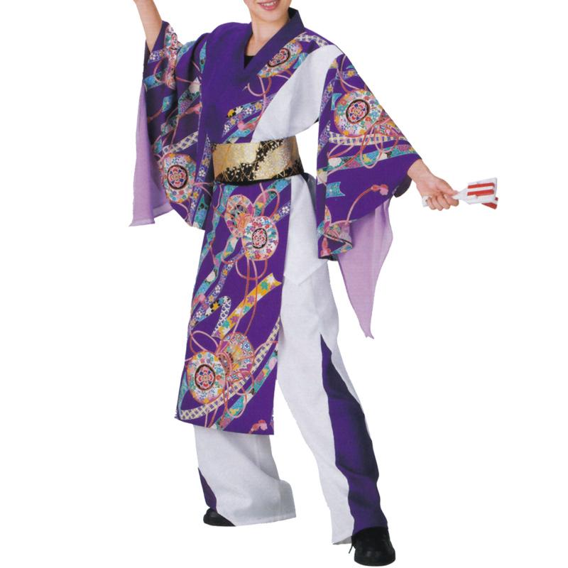 よさこい衣裳 上衣 紫花柄 C73009【よさこい/踊り衣裳/お祭用品/まつり用品/お祭り】