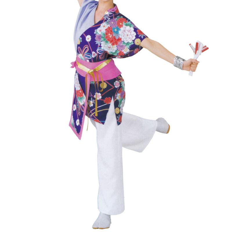 ラッピング無料 よさこい祭り 踊り衣裳 よさこい衣装 上衣 帯 C20031 紫 通販 激安 よさこい お祭り まつり用品 花柄 お祭用品