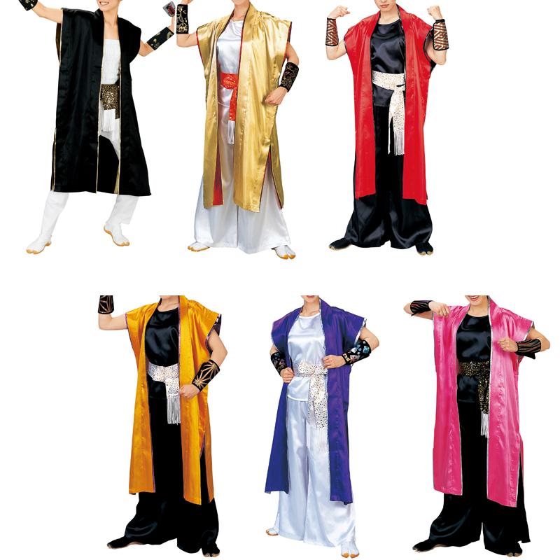 【よさこい衣装】袖無し長袢天 赤・金・黒・ピンク・紫・黄色E7955、7956、7957、7958、7959、7960【お祭用品/祭用品/お祭り/踊り】