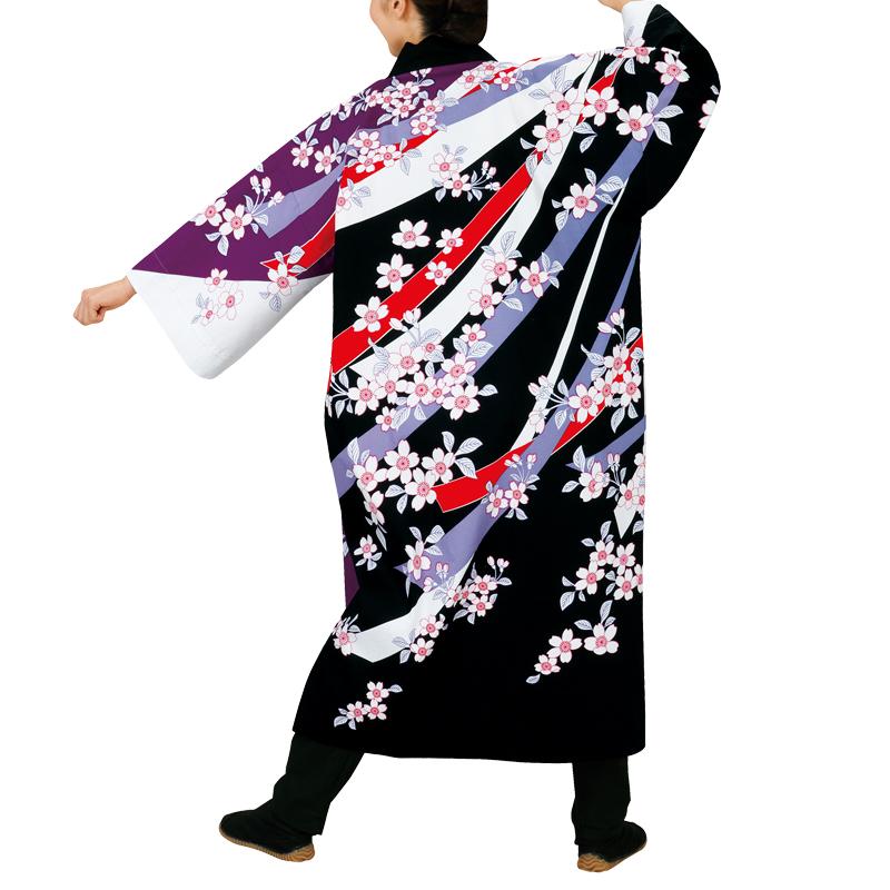 【よさこい衣装】長袢天 桜 黒/白/紫 L LL E7947【お祭用品/祭用品/お祭り/踊り】