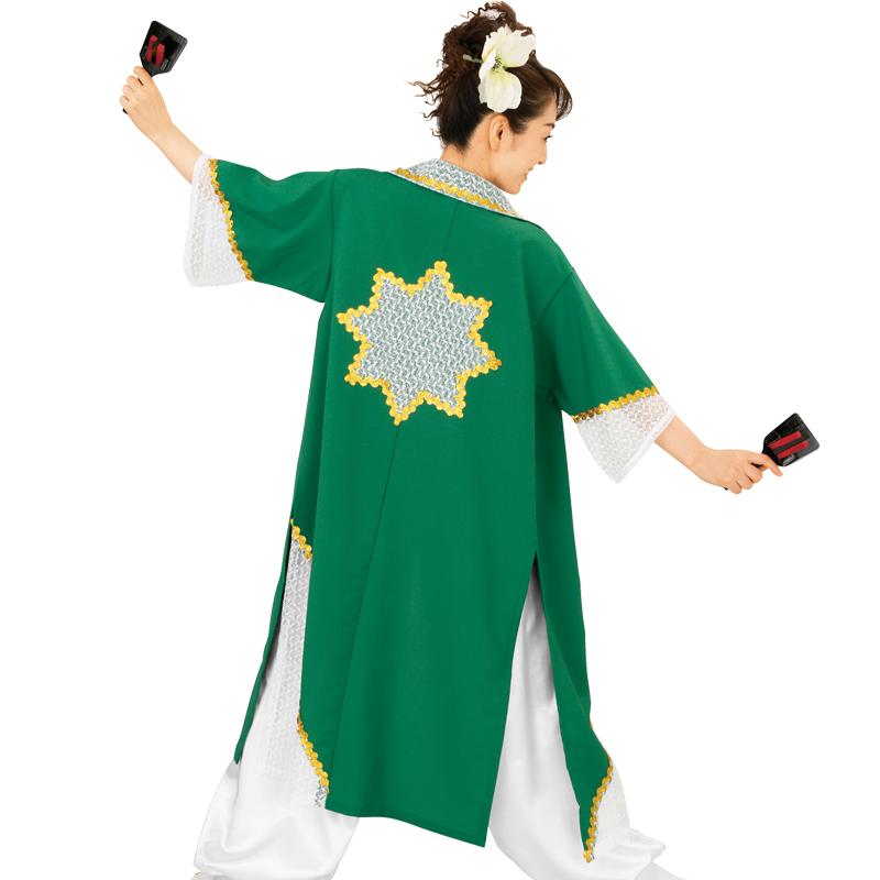 【よさこい衣装】よさこい衣装 上着のみ 緑E7071【お祭用品/祭用品/お祭り/踊り】
