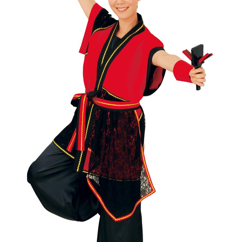 【よさこい衣装】よさこい衣装 上着のみ 赤/黒E7073【お祭用品/祭用品/お祭り/踊り】