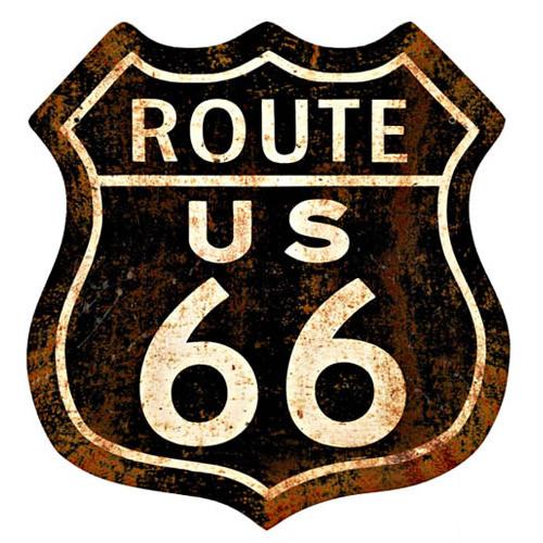 サインボード スチールサイン Route 66 Rusty アメリカ雑貨/アメ雑貨/ガレージ/インテリア