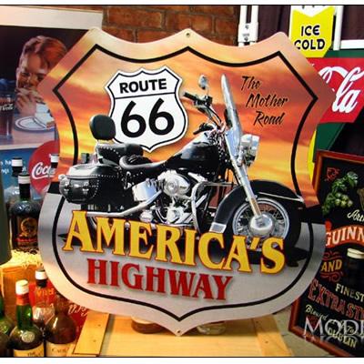 ブリキ看板 ROUTE66 ルート66 アメリカの高速 バイク 特大サイズ アメリカ雑貨/アメ雑貨/ガレージ/インテリア/レトロ/ブリキプレート
