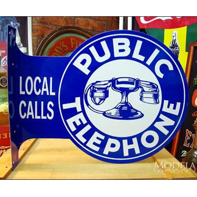 ブリキ看板 公衆電話 フランジ型 アメリカ雑貨/アメ雑貨/ガレージ/インテリア/レトロ/ブリキプレート