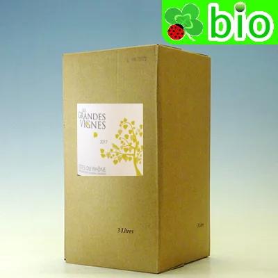 ビオワイン:自然派  レ・グランド・ヴィーニュ コート・デュ・ローヌ・ブラン バッグ・イン・ボックス(3L)エステザルグ Les Grandes Vignes Cotes du Rhone Blanc Bag in Box Les Vignerons d'Estezargues