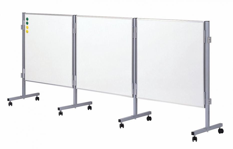 連結式ホーローホワイトボード(低位置タイプ)H900mm×W900mmパネル3台[送料無料・マーカーセット付き]