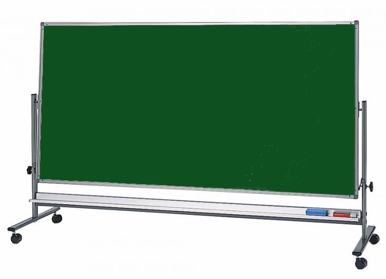 移動式 両面 スチールグリーンボード (低位置タイプ)H900mm×W1800mm[送料無料・チョークセット付き]