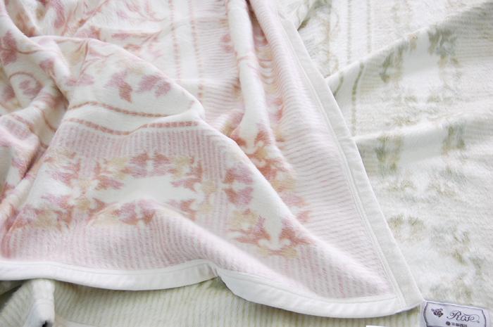 シルク毛布 京都西川 毛羽部分シルク100% シングルサイズ 日本製 ブランケット 肌に優しい毛布 ピンク/グリーン