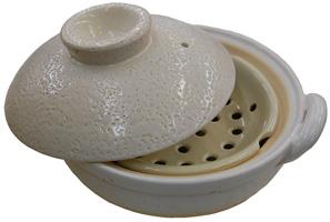 伊賀焼窯元 長谷製陶 「ヘルシー蒸し鍋」(白)中 食材そのものの味を生かした 感動の味