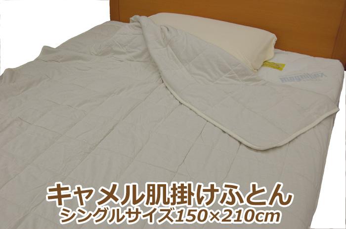 キャメル肌掛けふとん シングル オーガニックコットン生地 フタコブラクダ 天然素材100% 肌ふとん 年中つかえる 冬は毛布の代わりに