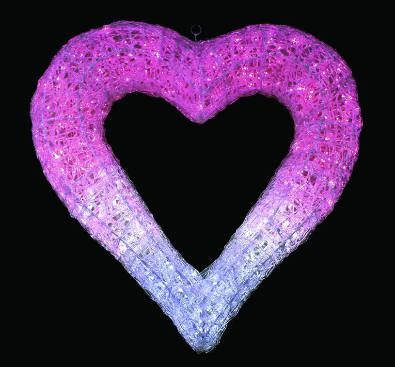 LEDクリスタルグローハート ホワイトピンク 【イルミネーション】 【送料無料!!】 クリスマスイルミネーションモチーフ 【smtb-k】【w3】