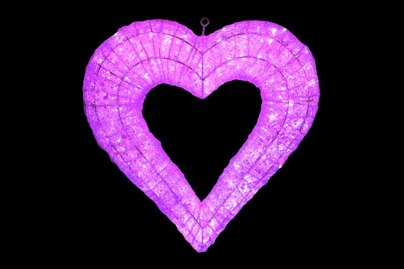 LEDクリスタルグローハート ピンク 【イルミネーション】 【送料無料!!】 クリスマスイルミネーションモチーフ 【smtb-k】【w3】
