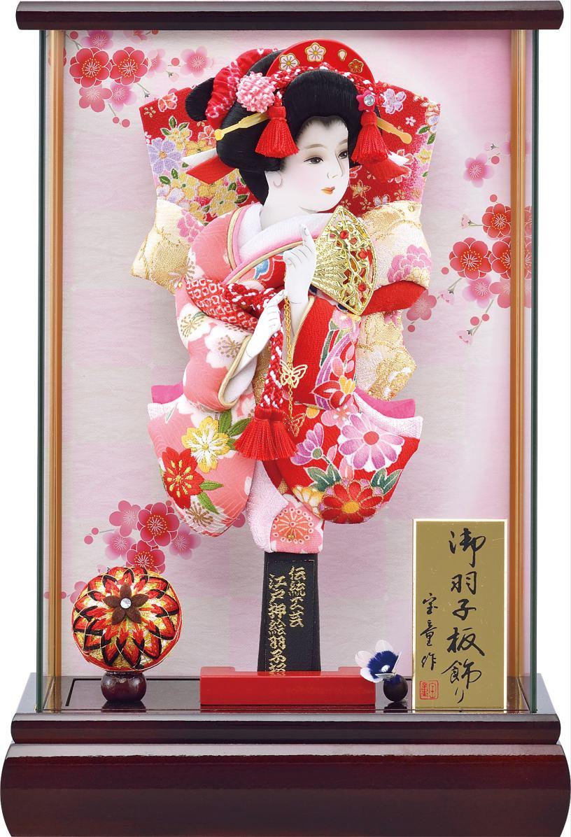 薄型パノラマ 赤溜 9号ケース 撫子姫羽子板セット