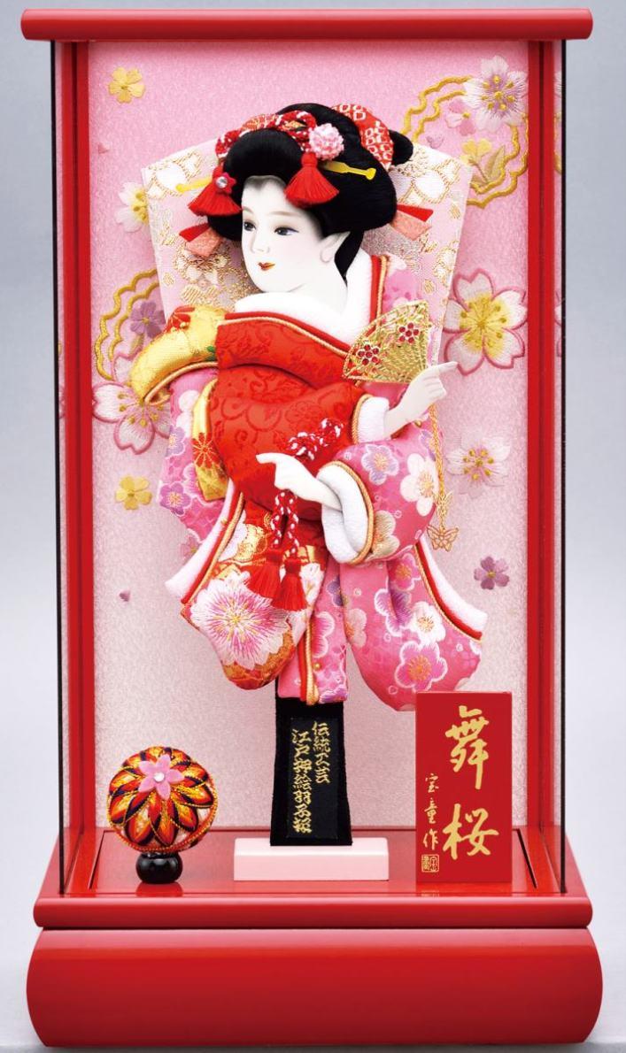 パノラマ舞桜 赤 10号ケース 刺繍金襴振袖羽子板セット