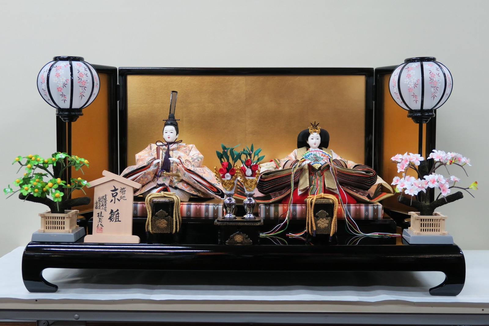 安藤桂甫作 京雛十番帯地上親王No.71 (金箔12号三曲屏風黒塗平台飾り)