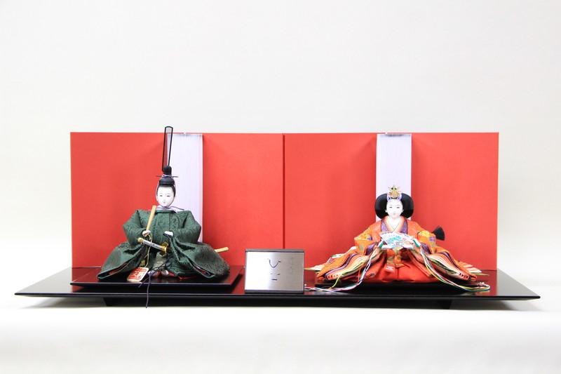 雛人形 親王飾り 二人飾り シンプル ひな人形 清水久遊作 三五親王正絹唐織02-133 四曲赤屏風越前塗布目台平飾り